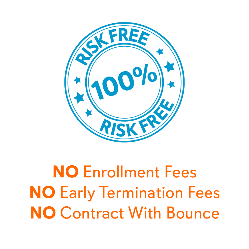 100% risk free - no enrollment fees, no early termination fees and no contract